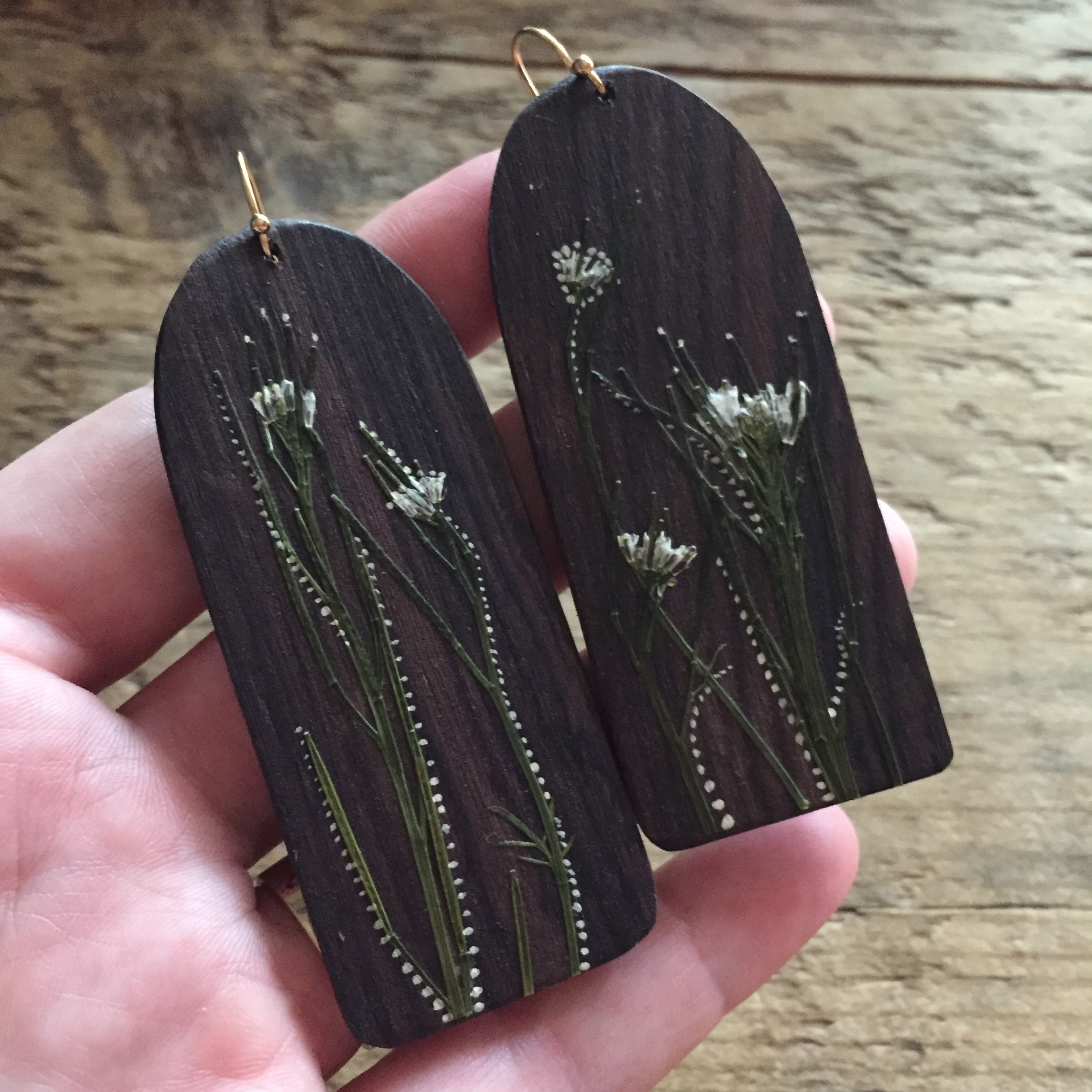 Wood & Pressed Plant Earrings