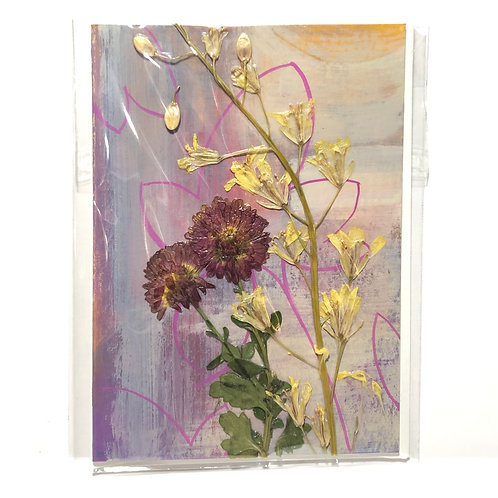 Mums & Cabbage Flowers Hand-Painted Card