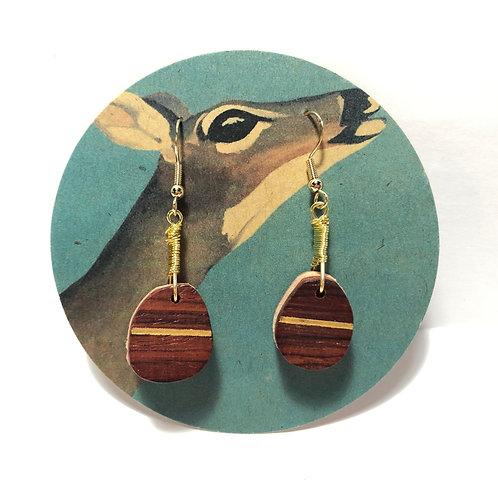 Single Stripe Layered Wood Earrings
