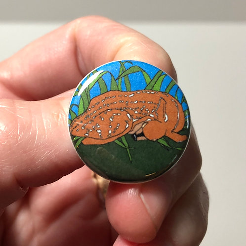 Sleeping Fawn Pin or Magnet