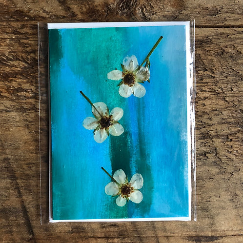 Strawberry Blossom Hand-Painted Card