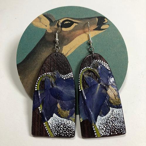 Purple Columbine Hand-Painted Wood Earrings