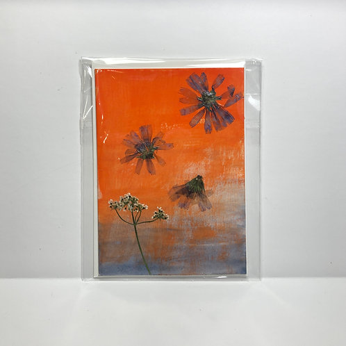 Chicory and Cilantro Flower Hand-Painted Card