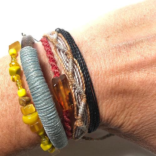 Simple Black Waxed Cord Bracelet