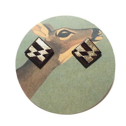 Gilt Wood Baltimore Flag Earrings