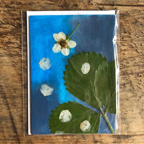 Strawberry Flowers & Leaf Hand-Painted Card