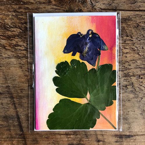 Purple Columbine Flower & Leaf Hand-Painted Card