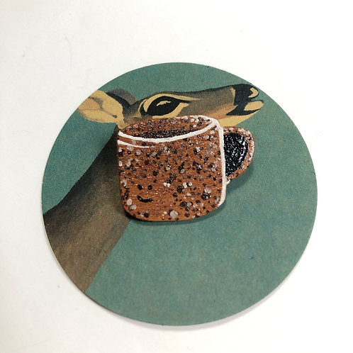 Something About A Good Mug #2 Hand-Painted Wood Pin