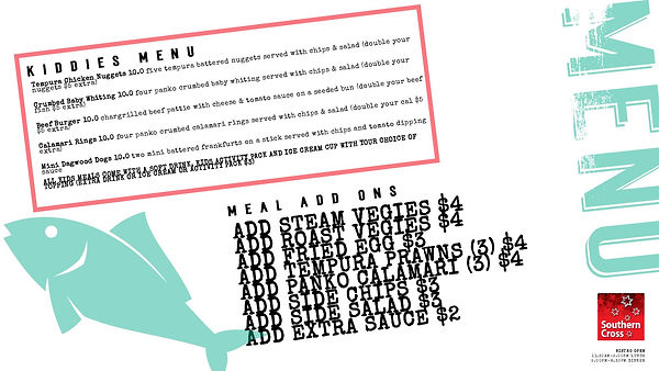 Menu with angled text and rough heading-