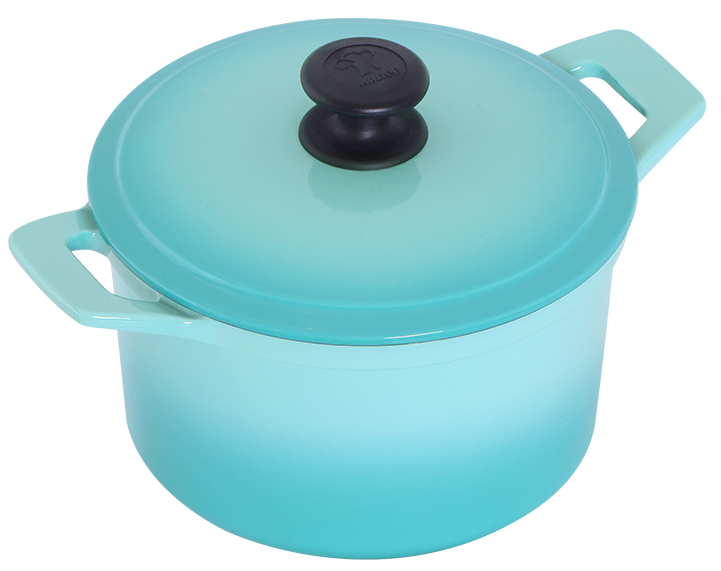 20公分鑄鐵圓鍋-漸層綠松-俯-小