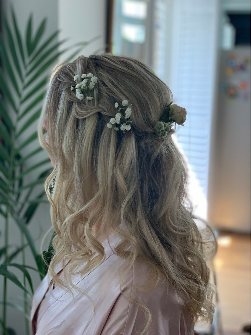 Bridesmaid half up hairstyle