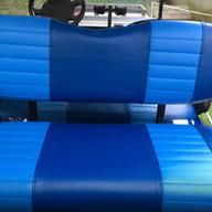 Rear Seat Blue With Lt. Blue Stripes.
