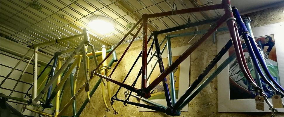 Vintage bicycle racing frames and framesets for custom bicycle build in bikeztube's bike workshop and repairs