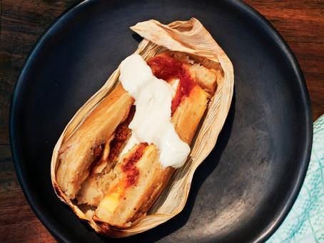 Tamales Dulces con ate de membrillo                            y queijo de azeitaõ