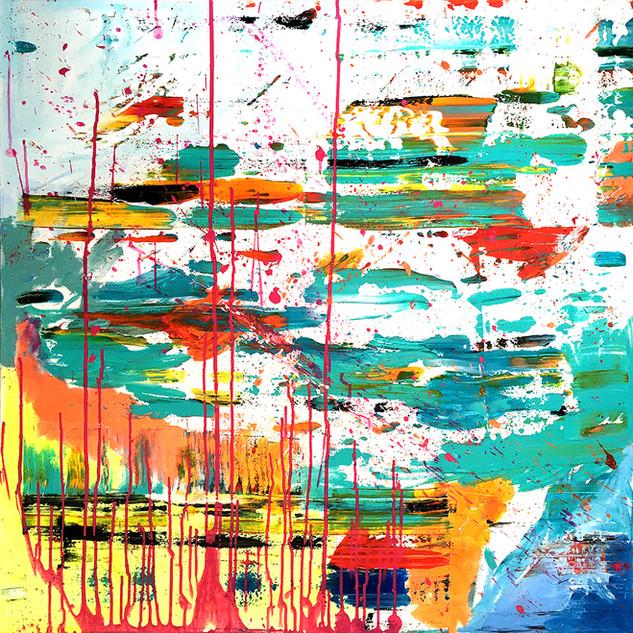 SOLD  Mixed media: acrylic & oil #10  100cm x 100cm x 2cm £275