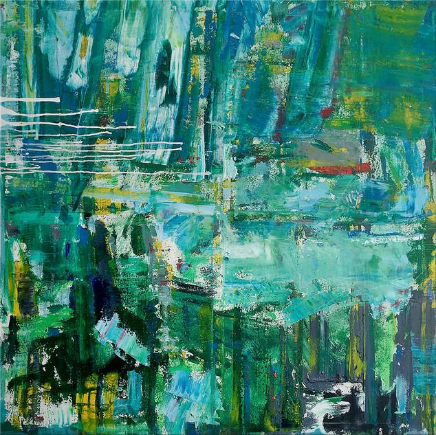 SOLD  Oil On Canvas #5  100cm x 100cm x 2cm £725
