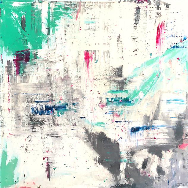 Mixed media: acrylic & oil #7  100cm x 100cm x 2cm £350