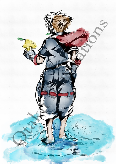 Sora Watercolour Print (Kingdom Hearts)