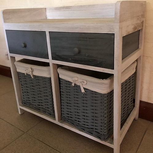 Mueble blanco y gris - 2 cajones y 2 canastos
