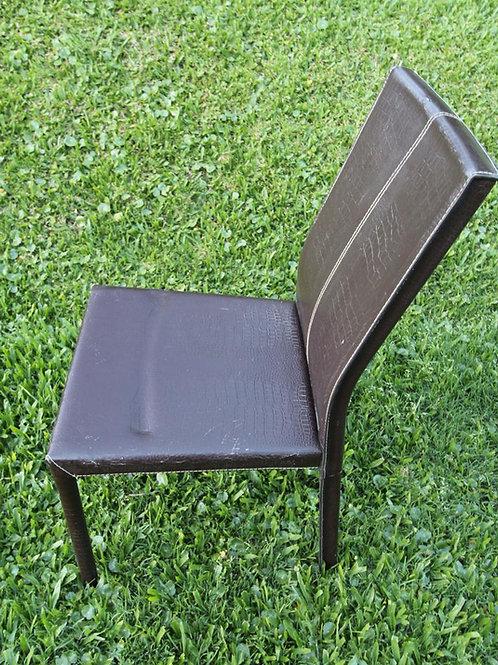 Juego 8 sillas cuero croco chocolate