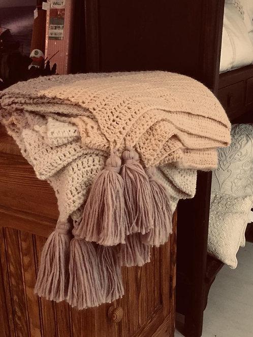 Manta rayas en lana italiana con flecos