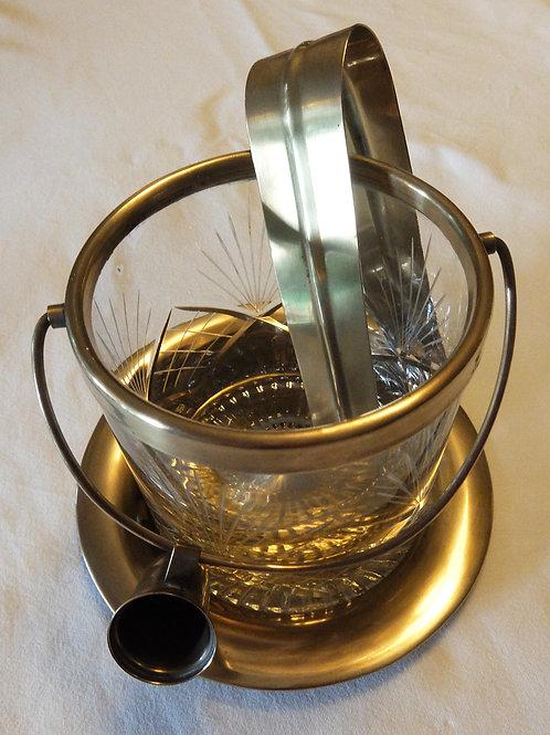 Hielera de vidrio labrado y bronce