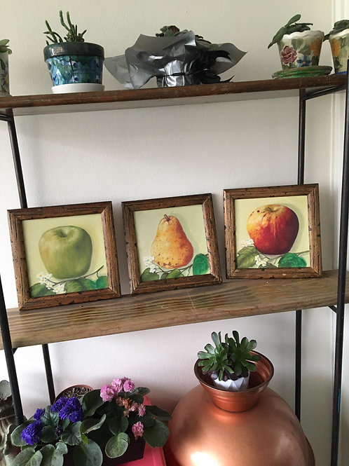 Set 3 cuadritos - motivo frutas