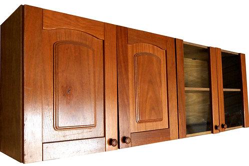 Mueble voladizo de cocina en madera y vidrio