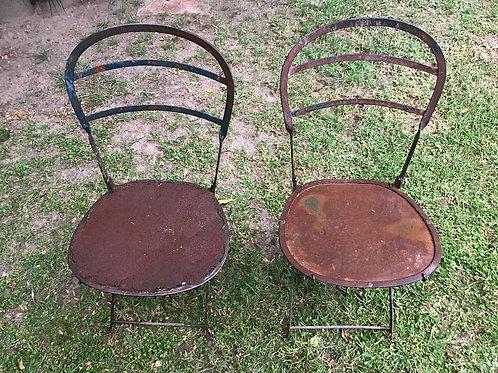 Juego 2 sillas de jardín en hierro oxidado