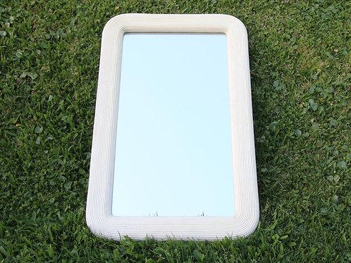 Espejo marco rattan pintado blanco