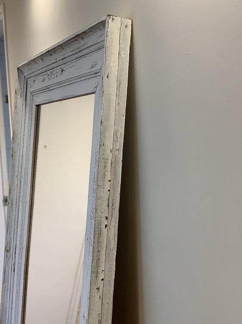 Espejo marco madera patinada blanca