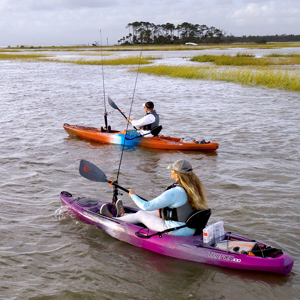 Wilderness Tarpon 100 and 120 paddling on the flats.
