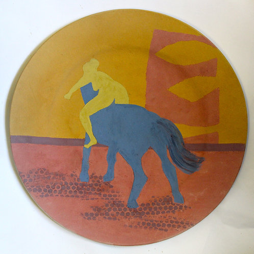 Blue Horse Ceramic Plate - Man and Beast series