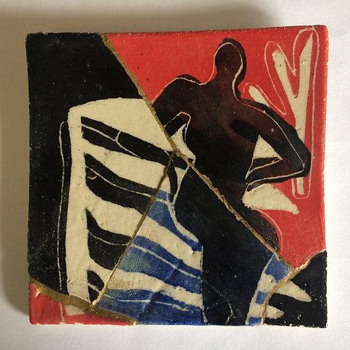 Framed Ceramic tile - Kintsugi Nude