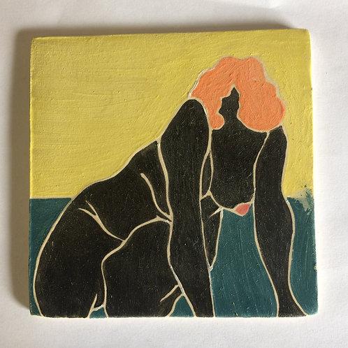 Framed Ceramic tile - Kneeling figure