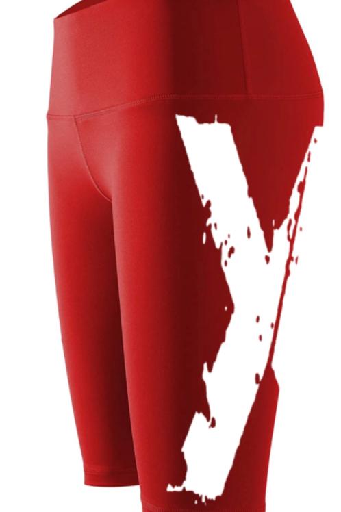 "Big ""X"" Biker Shorts - Red w White X"