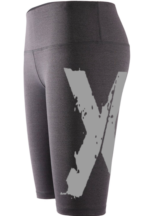 "Big ""X"" Biker Shorts - Grey w Lt Grey X"