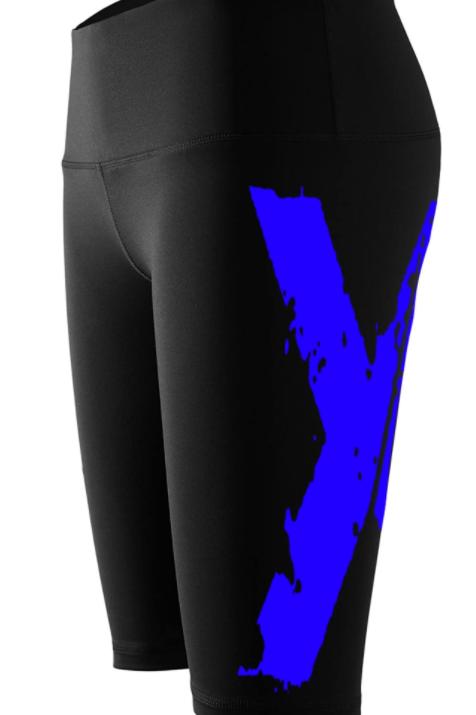 """Big """"X"""" Biker Shorts - Black w Blue X"""