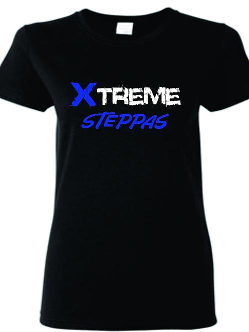 """Xtreme Steppas"" Black and Royal Blue Ladies Tee"