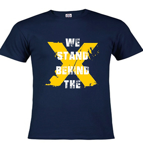 """""""We Stand Behind the X"""" Navy Blue/Yellow Unisex Tee"""