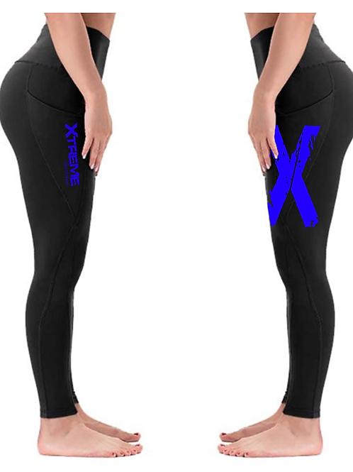 """Xtreme"" Double Sided Leggings - Black/Blue X"