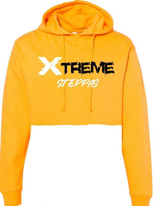 """Xtreme Steppas"" Crop Top Hoodie -Yellow"