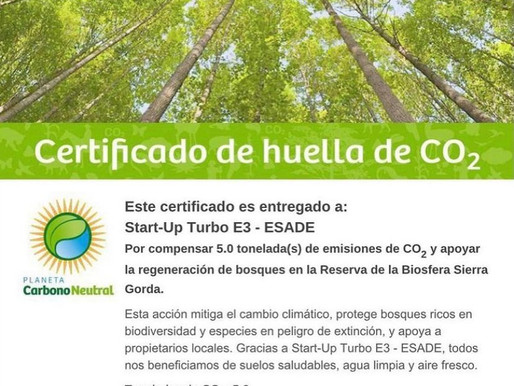Start Up Turbo E3 Esade has offset their Carbon Footprint!