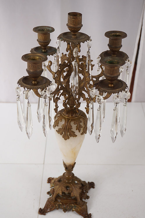 Brass And Crystals Candelabra