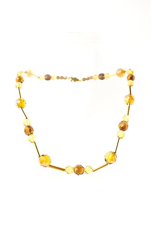Colar de cristais amarelos e dourados