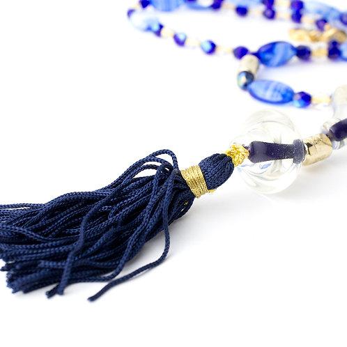Colar longo de cristais e muranos azuis