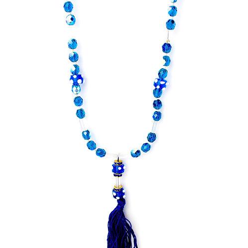 Colar longo de cristais azuis