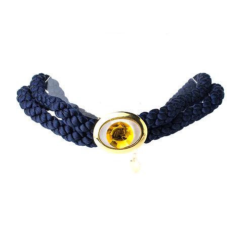 Gargantilha azul marinho com Swarovski