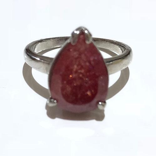 Anel cristal rutilado vermelho