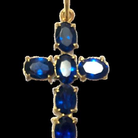 Pingente cruz de cristal azul